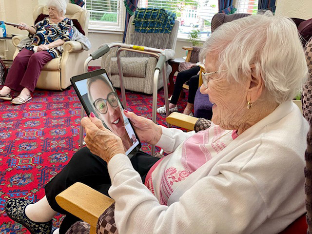 Care home residents stay connected